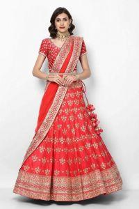 JANKISILKMILL Women's Silk Semi-Stitched Party Wear Lehenga Choli - Red