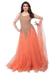 BRAND JUNCTION Women's Net Embroidery Designer Semi-stitched Gown - Orange
