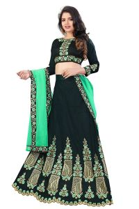 BRAND JUNCTION Women's Poly Silk Semi-Stitched Lehenga Choli - Dark Green