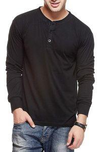 Fashion Gallery Hanley Neck Tshirts for Men | Stylish Look Plain Tshirts |Hanley V-Neck Button Tshirts