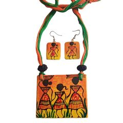Handprinted Ceramic Pendant And Earrings Use For Women And Girls