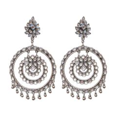 Oxidized Mirror Work Double Round Ear ring for Women & Girls (Silver)