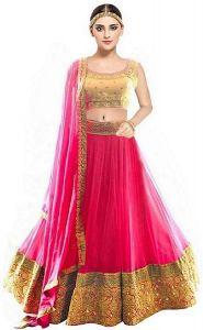 BRAND JUNCTION Women's Georgette Semi-Stitched Lehenga Choli - Pink & Gold