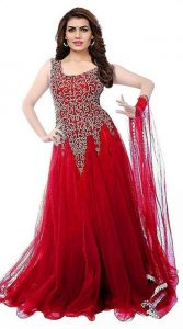 JANKISILKMILL Women's Net Embroidery Designer Semi-Stitched Gown - Red