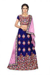 BRAND JUNCTION Women's Silk Semi-Stitched Heavy Work Lehenga Choli - Blue