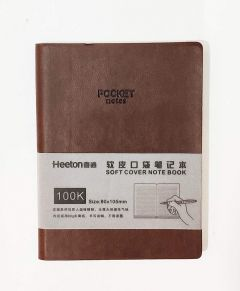 XINGLI PU Leather, Soft Cover Pocket Size Corporate/Executive Diary Notebook (Set of 3) (Brown, Black, Grey