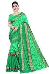 BRAND JUNCTION Women's Banarsi Cotton Silk Saree With Blouse Piece - Green