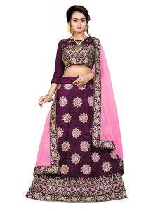 BRAND JUNCTION Women's Silk Semi-Stitched Beautiful Lehenga Choli - Maroon