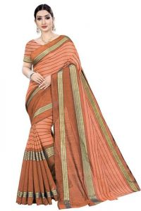 JANKISILKMILL Women's Banarsi Cotton Silk Saree With Blouse Piece - Orange