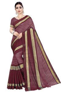 BRAND JUNCTION Women's Banarsi Cotton Silk Saree With Blouse Piece - Maroon