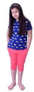 Babydoll - Self Printed Girls Kids Night Suit Super Soft Nightwear Cotton Hosiery Top and Capri Set