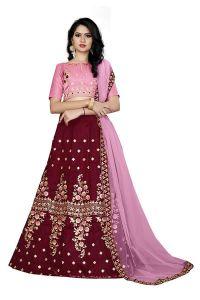 BRAND JUNCTION Women's Silk Semi-Stitched Lehenga Choli - Pink/Red