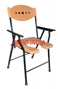 Albio Commode Chair/Patient Care Invalid U-Cut With Folding Handle - Delux