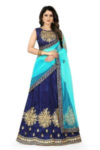 BRAND JUNCTION Women's Silk Semi-Stitched Lehenga Choli Latest Design - Blue