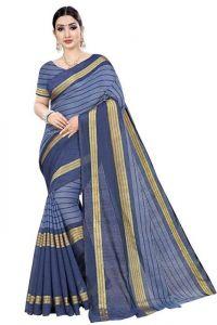 JANKISILKMILL Women's Banarsi Cotton Silk Saree With Blouse Piece - Blue
