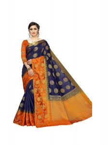 Morpich U151 Fashion Women's Cotton Elegantly Crafted Silk Saree With Blouse Piece (Blue)
