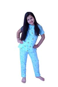 Babydoll - Self Printed Girls Kids Night Suit Super Soft Nightwear Cotton Hosiery Top and Payjama Set Night Suit Full Set for Girls