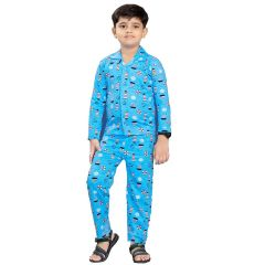 Bonnitoo Hydes Super Soft Nightwear Cotton Night Suit Full Sleeve - Turquoise