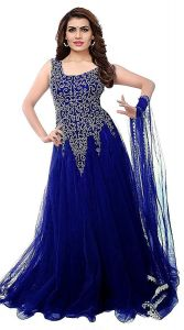BRAND JUNCTION Women's Net Embroidery Designer Semi-stitched Sleeveless Gown - Navy Blue