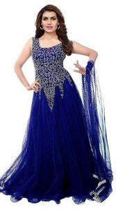 JANKISILKMILL Women's Net Embroidery Designer Semi-Stitched Sleeveless Gown - Navy Blue