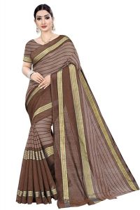 BRAND JUNCTION Women's Banarsi Cotton Silk Style Saree With Blouse Piece - Brown