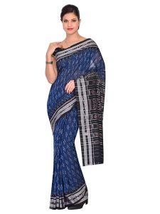 Handloom Women's Sambalpuri Ikat Cotton Saree - Blue/Black