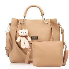 World of Needs Women's Handbags Combo Pu Leather with Sling Bag for Large Shoulder Beige