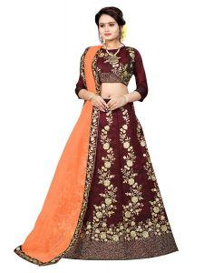 BRAND JUNCTION Women's Silk Semi-Stitched Lehenga Choli - Maroon