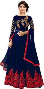 JANKISILKMILL Women's Satin Semi-Stitched Gown - Blue & Red