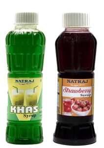 Natraj The Right Choice Khus Sharbat & Strawberry Sharbat Syrup (Pack of 2 x 750 ml Bottle)
