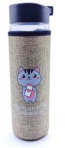 Kitty Glass Bottle for Storing Beverages, Milk, Water and Juice with Jute Cover for Men, Women and Kids, 500 ml