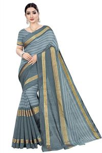 BRAND JUNCTION Women's Banarsi Cotton Silk Saree With Blouse Piece - Grey