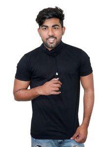 Fashion Gallery Men's High Neck Cotton Tshirt|Solid Half Sleeve Tshirt|Trending Tshirts for Men