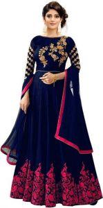 JANKISILKMILL Women's Satin Semi-Stitched Gown - Blue & Pink