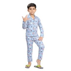 Bonnitoo Hydes Self Printed Boys Style Night Suit | Super Soft Nightwear Cotton Set