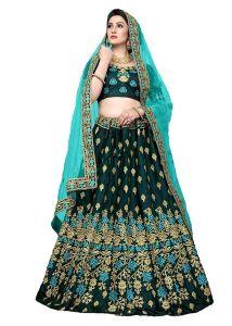 BRAND JUNCTION Women's Silk Semi-Stitched Lehenga Choli - Green