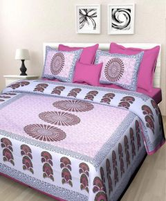 Astro Tc 144 Designer 100% Pure Cotton Jaipur Block Multi Printed King Size Double Bedsheet with 2 Pillow Covers