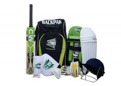 CW Bullet Junior Cricket Kit Green Size 4 for Kids Age Group 8-9 Years Old School Sports Kit Training Children Size Bat Ball Carry Sports Backpack