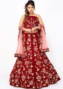 BRAND JUNCTION Women's Silk Semi-Stitched Heavy Work Lehenga Choli - Red