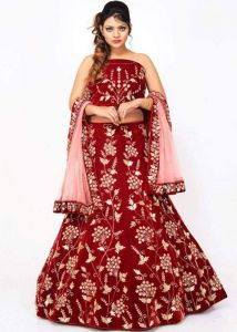 JANKISILKMILL Women's Silk Semi-Stitched Heavy Work Lehenga Choli - Red