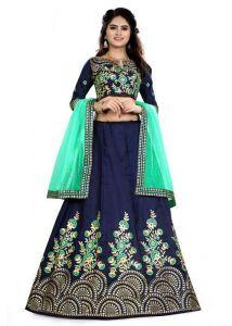 JANKISILKMILL Women's Silk Semi-Stitched Lehenga Choli - Blue/Green