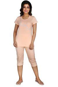 Babydoll Women's Night Suit & Night Shirt | Night Dress with Print | Cotton Hosiery Night wear | Top and Capri Set with Half Sleeve
