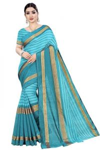 JANKISILKMILL Women's Banarsi Cotton Silk Saree With Blouse Piece - Sky Blue