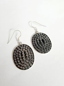 Exclusive Vj  925 Silver Oxidized Vertical Oval Earrings