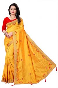 Aaradhya Fashion Presenting Designer Embroidered Bollywood Vichitra silk Saree with Blouse for Women's