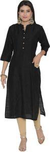 Women Solid Cotton Blend A-line Kurta(Black)