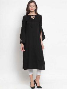 Women Solid Rayon Straight Kurta (Black)