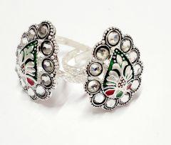 Exclusive Vj Sterling Silver Partywear Kundan Thumb Toe Rings