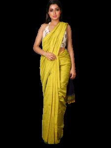 Handloom Soft Khadi Saree With Blouse Piece - White/Yellow