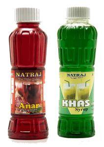 Natraj The Right Choice Anar Sharbat & Khus Sharbat Syrup (Pack of 2 x 750 ml Bottle)